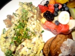 Old World Scramble with Fresh Fruit and Grain Toast